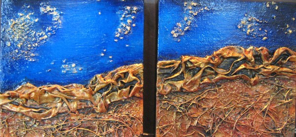 Red Mountain, Starry Night  (diptych)