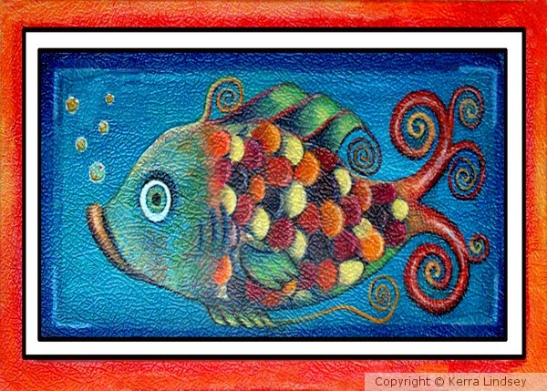 Whimsical Rainbow Fish Cyan Blue Red and Yellow