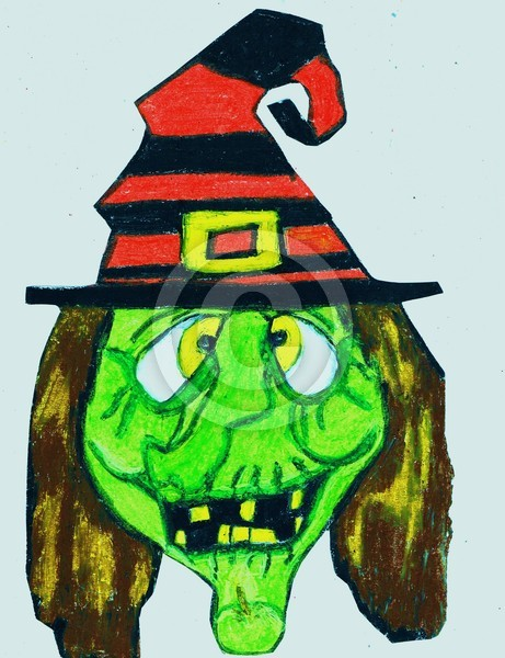 HALLWEEN SILLY GREEN FACE WITCH