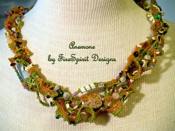 Anemone- beadwoven freeform peyote stitched necklace