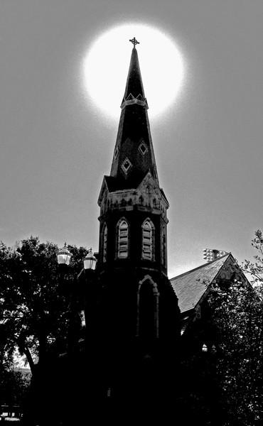 church and sun
