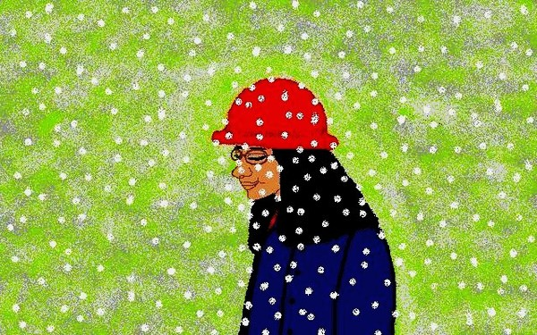 red hat with snow