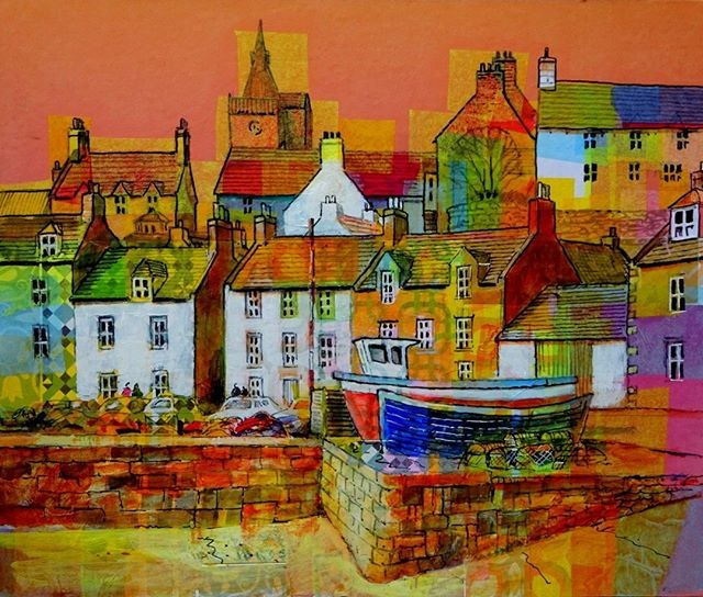 Pittenweem Harbour collage acrylic tissuepaper pittenweem