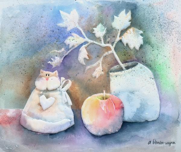Cat-Apple-Vase Still Life