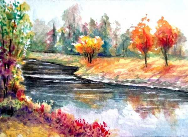 Fall reflections aceo