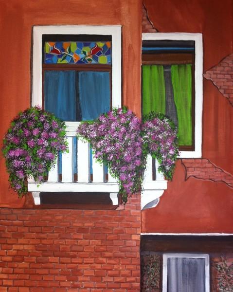 Colorful windows of Venice