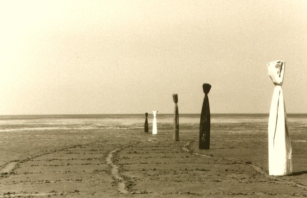 Art Installation in the mud flat of the North Sea