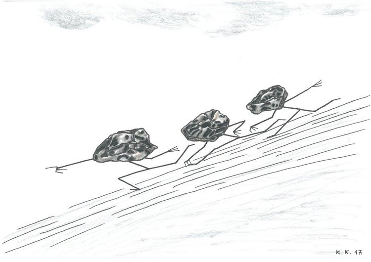 Stoneheads, one story from World of Fantasy, amateur drawing, for sale