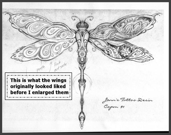 Dragonfly Paisley Tattoo Design