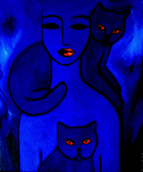 cats and woman in blue...