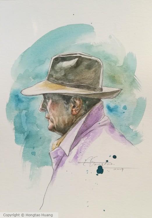 watercolor Portrait Of Old Man