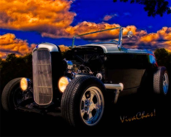 32 Ford Roadster In Silver & Black