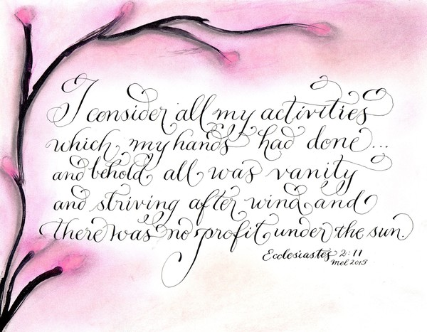 All was vanity Ecclesiastes pink artistic design