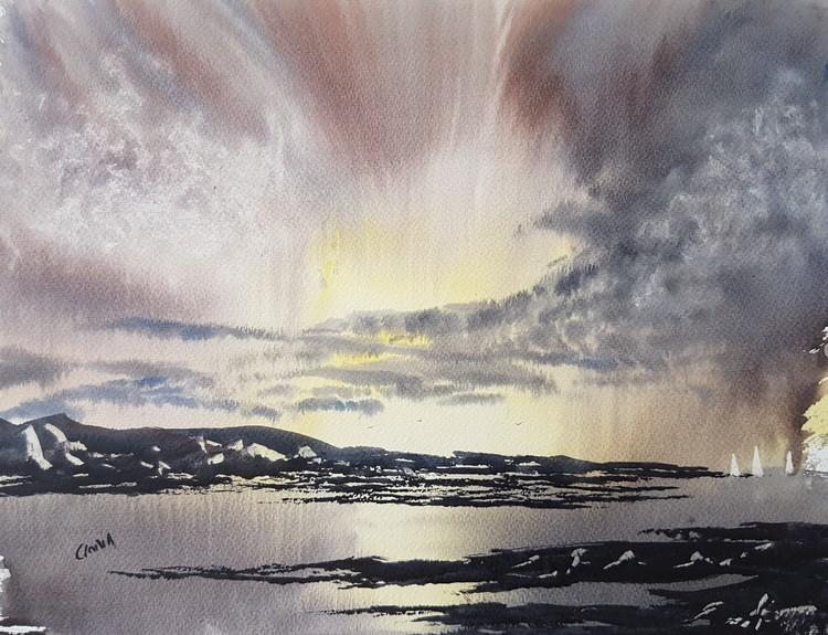 Coastal Sunrise Watercolour Painting