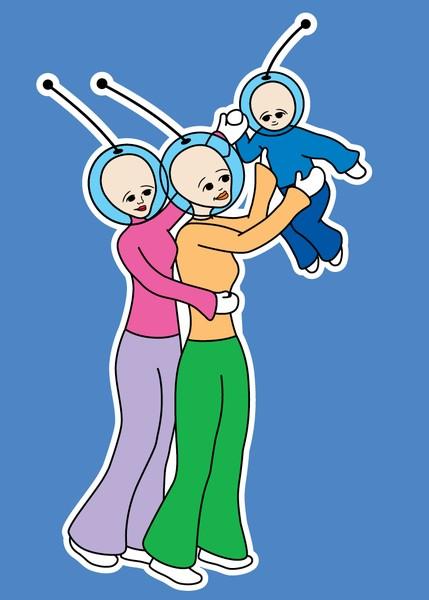 Anik and Jenka with their new baby, Edo.