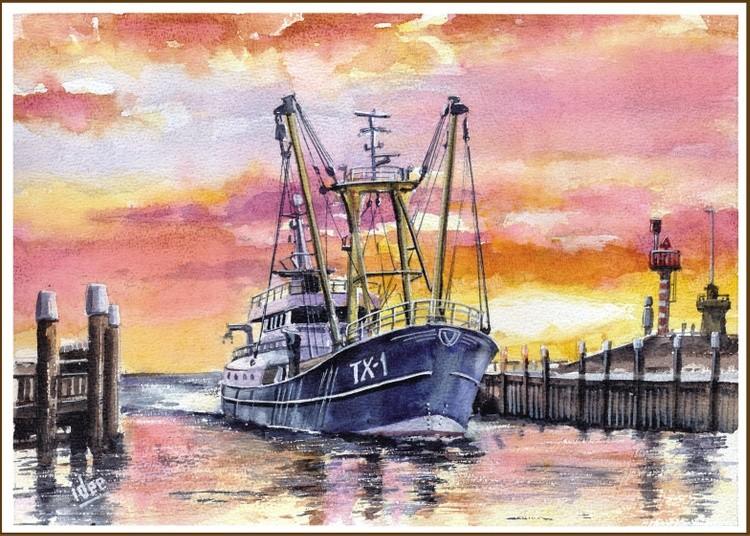 Entering the harbor at dawn