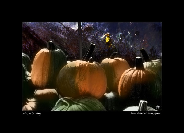 Four Painted Pumpkins Poster