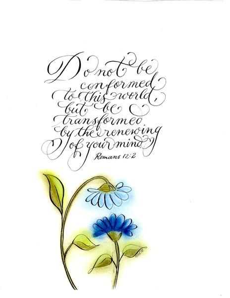 Blue daisies Scripture art Romans 12:2
