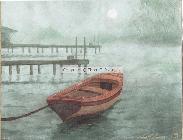 Brown boat watercolor by artist Thom E. Irving