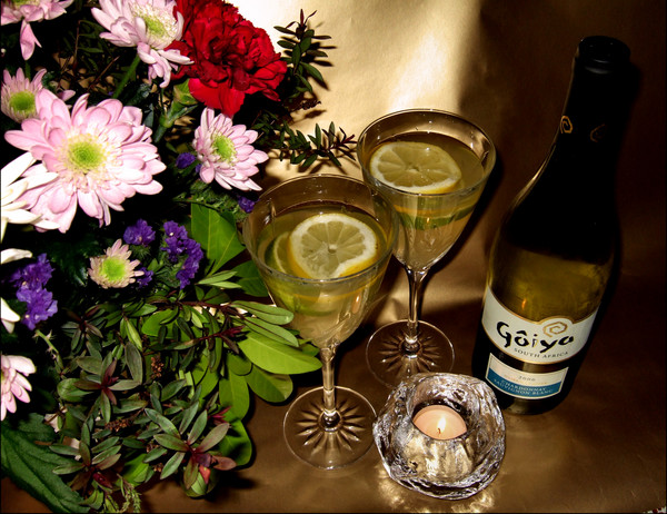 flowers wine and candle light