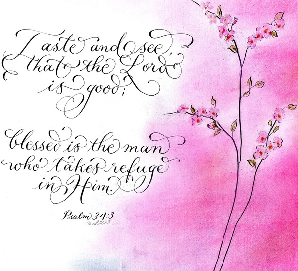 Inspirational Psalm pink flowers artistic design
