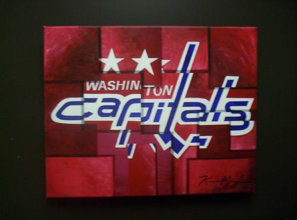 Washington Capitals Abstract Painting