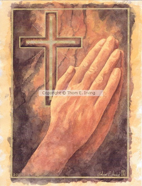 Praying Hands watercolor, by Thom E. Irving