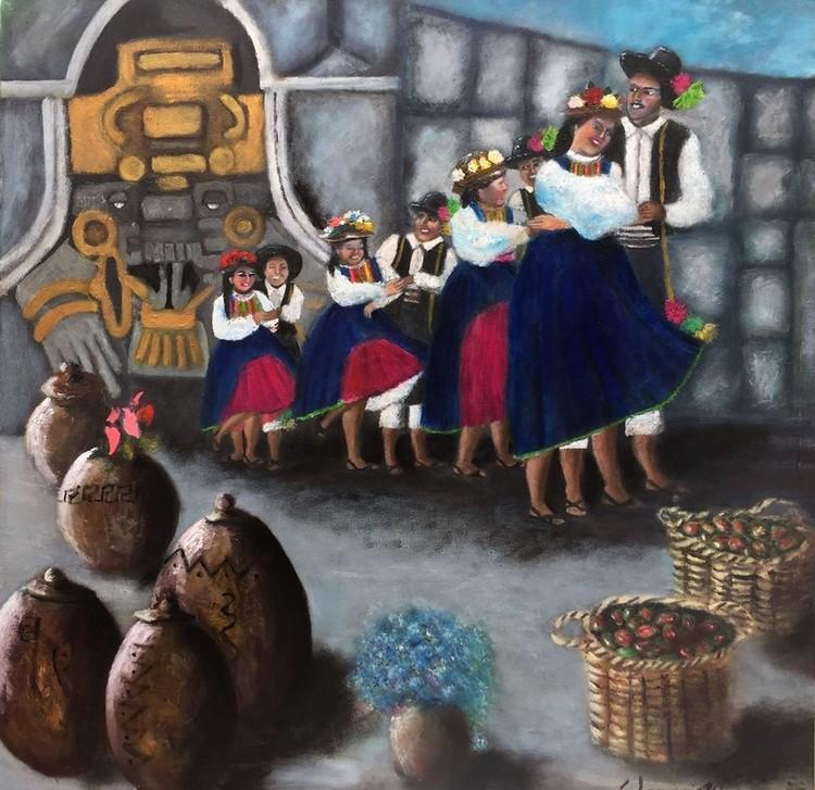 Tunasmarca danza de Moquegua Perú óleo sobre lienzo  80x80cm Serie matices peruanos 2015 Warmi Khuya