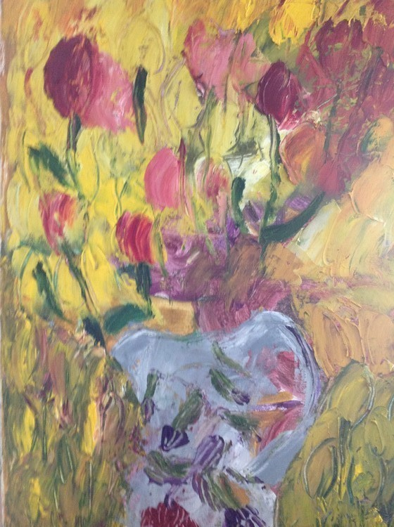Tulip s in oil on canvas