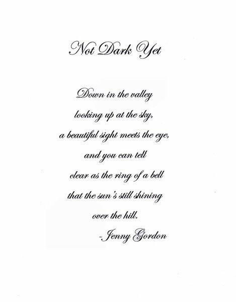 Not DARK Yet   Poem
