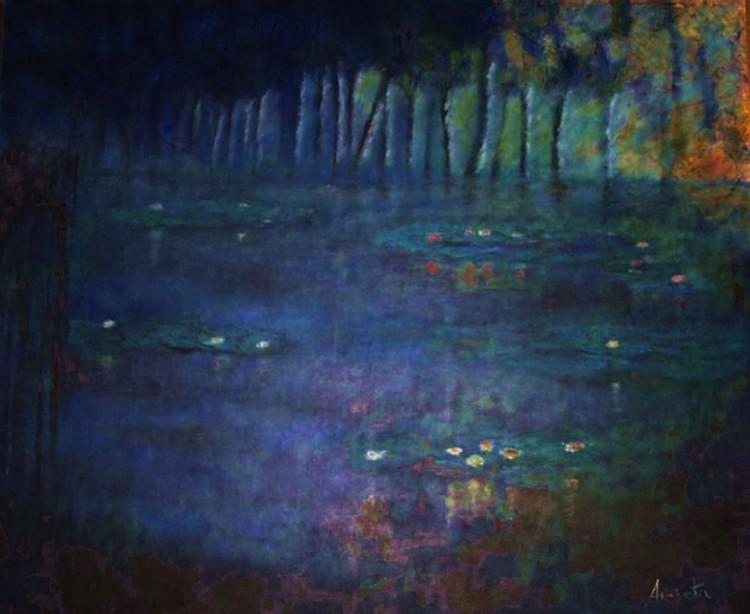 el lago de los lirios óleo sobre lienzo 2006 120x100 serie nuestro mundo
