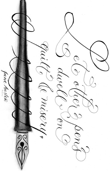 Jane Austen quote calligraphy art