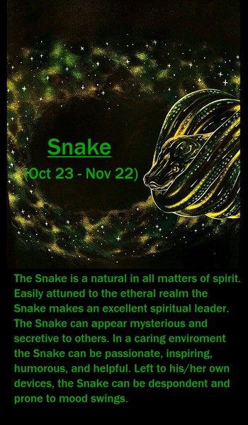 Native American Zodiac Sign, (Snake)