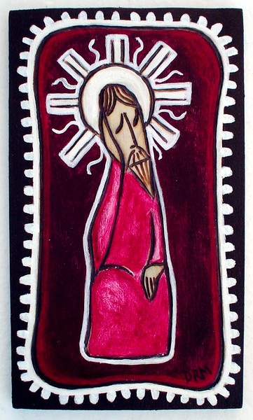red pensive christ