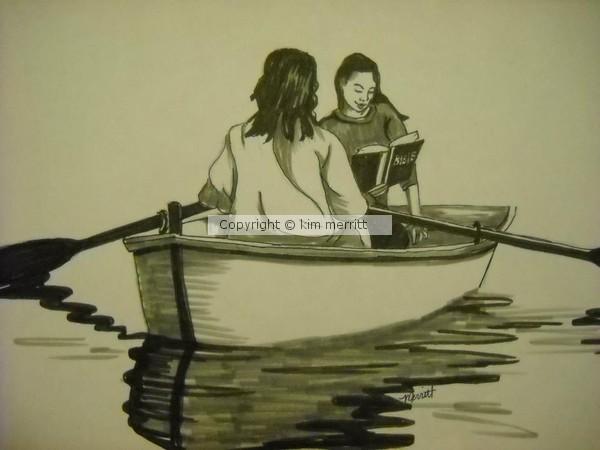 Jesus in boat illustration