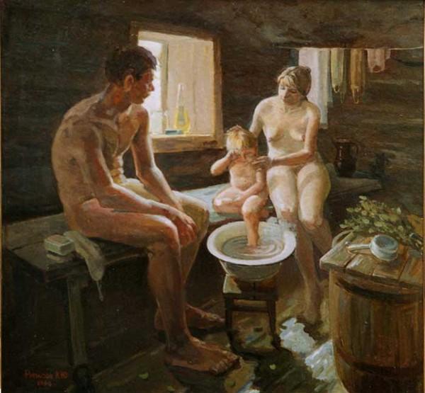Family. Russian banya.