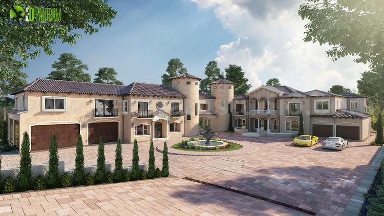 Ultra Semi-Modern Villa 3d exterior rendering ideas by Yantram 3d exterior design companies Florida.