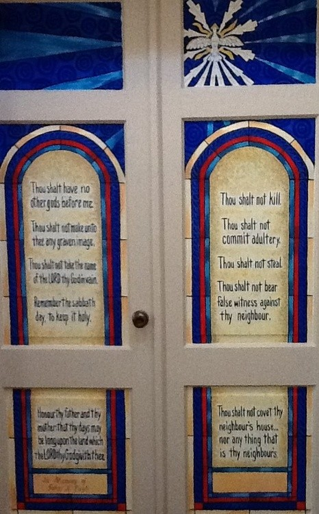Ten Commandments Faux stained glass doors