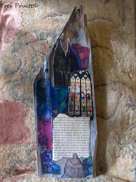 Gothic Cathedral Collage on Old Barn Wood
