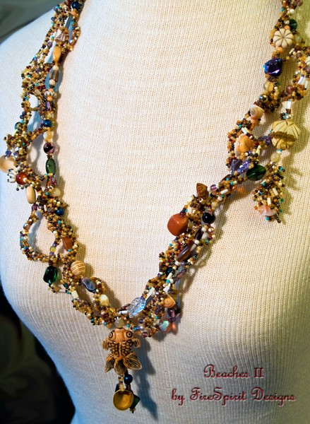 Beaches II- freeform peyote stitched beadwoven necklace