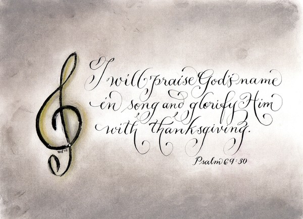 Praise God's Name handwritten Psalm verse