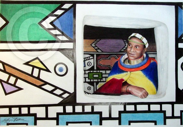Ndebele woman at her window