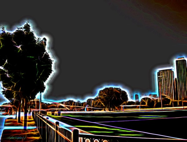 Chicago Park Overlay Blazing Neon Highlights