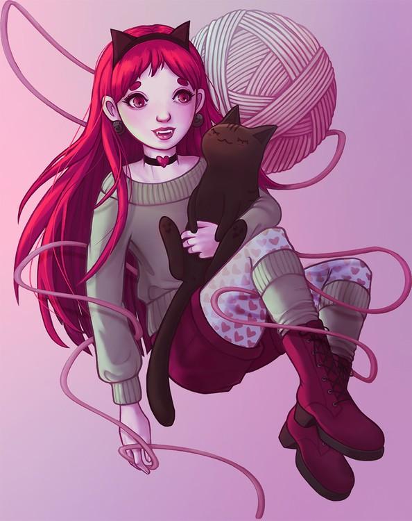 Valentine cat girl