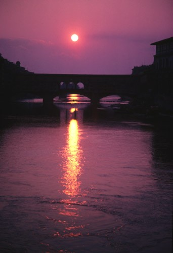 Sunset behind Ponte Vechio, Florence