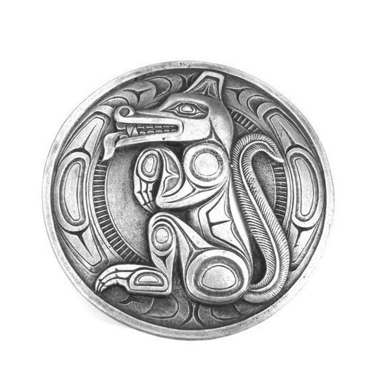 WOLF NorthWest Native The Wolf Belt Buckle made in solid Pewter Canada