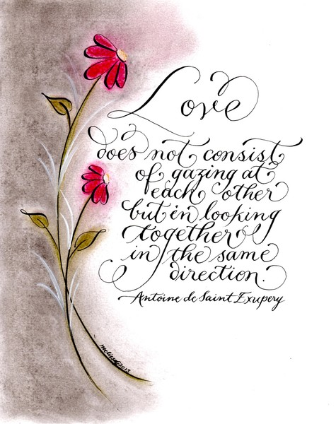 same direction love quote calligraphy art