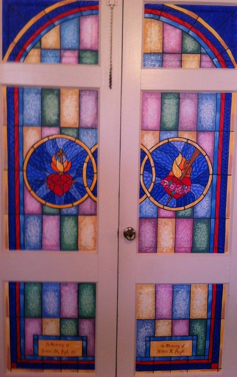 Faux Stained glass door inserts
