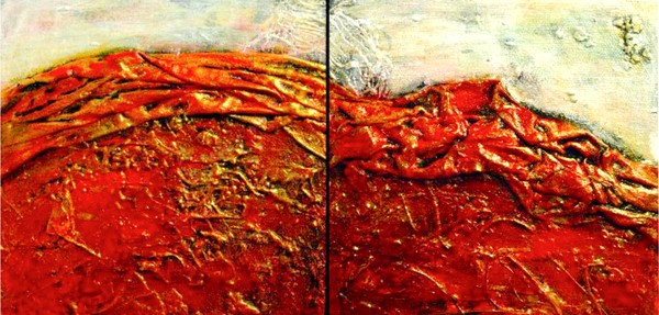 Red Mountain, Morning Mist (Diptych)