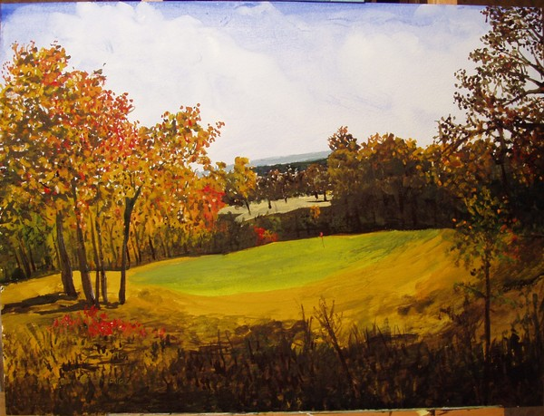 7th Hole Eagle Crest Golf Course  watercolor